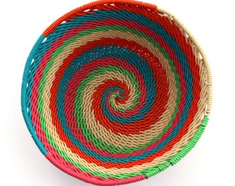 isiZulu telephone wire bowl (Imbenge bowl), multi-coloured, small