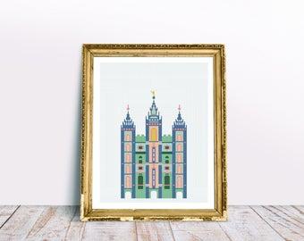 COLORFUL Salt Lake City LDS Temple - Modern Cross Stitch Pattern PDF - Instant Download