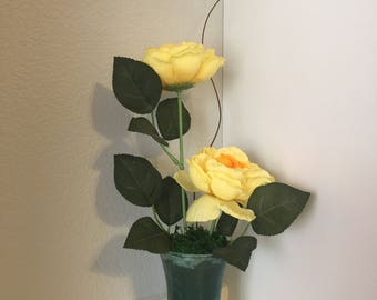 Rose Floral Arrangement, Yellow Floral Arrangement, Glass Vase Floral Arrangement, Silk Flower, Housewarming gift, Home decor floral