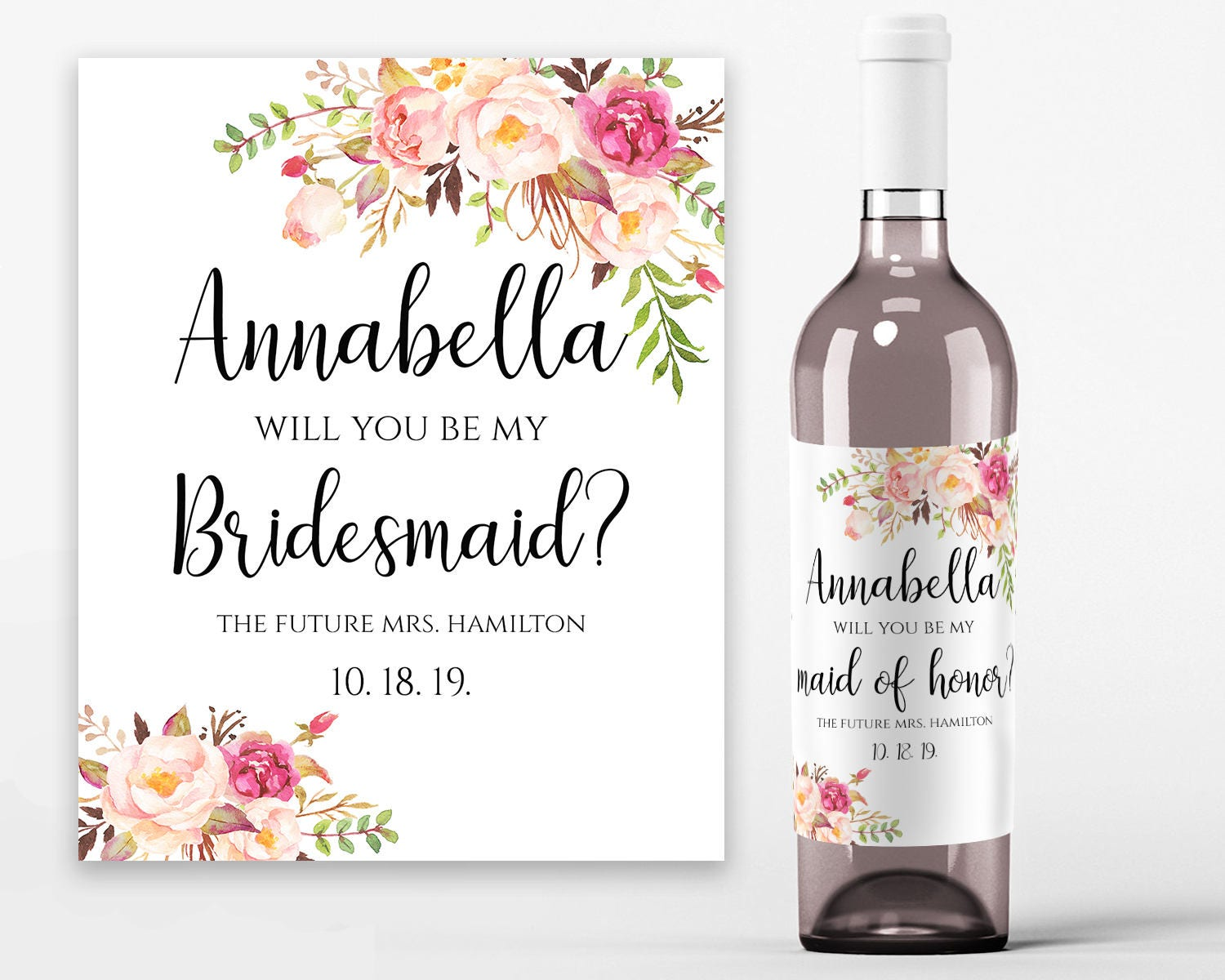 Will You Be My Bridesmaid Wine Label Printable Wine Bottle Labels - Bridesmaid wine label template