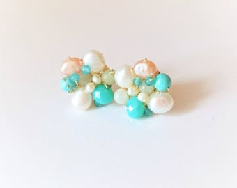 Pearl earrings with turquoise and amazonite stones and crystals
