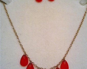 Red Teardrop Necklace and Earring Set #12