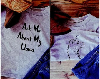 Ask Me About Me Llama Toddler T-Shirt