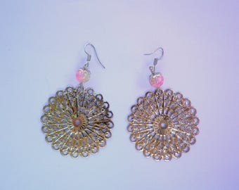 rose filigree earrings in silver