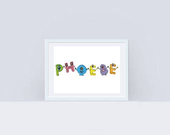 Personalised Monster Name Print