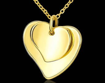 Gold Heart Necklace,Gold Heart Pendant,Gold Heart Jewelry