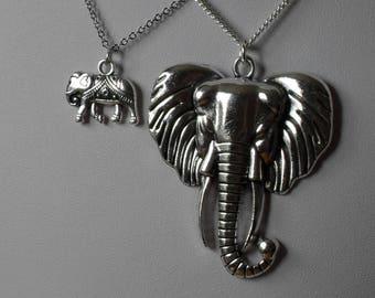 Elephant Jewelry,Elephant Necklace,Tiny Large Silver Elephant Necklace Pendant Jewelry