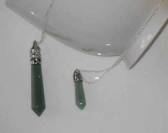 Green Adventurine Crystal Point Necklace, Adventurine Pendant, Green Adventurine Jewelry, Green Crystal Necklace, Green Jewelry