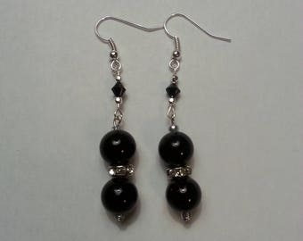 Black Glass Bead Ball Earrings with Rhinestones and Swaroski Crystals