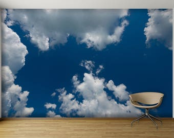 White Clouds In The Blue Sky WALL MURAL, Self Adhesive Peel And Stick Photo  Mural Part 39