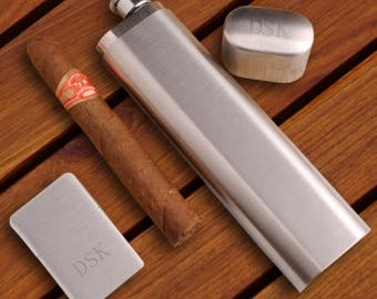 Monogrammed Cigar Case, Flask & Lighter Gift Set
