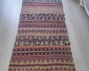 "Oushak Rug, Turkish Runner Rug, Vintage Runner Rug,2'8""×8''11feet,Home Living, Area Rug,Pastel Colors Runner Kilim Rug,"