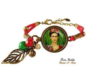 Bracelet Frida Kahlo artiste peintre bronze-n-roses rouge vert feuille peintre