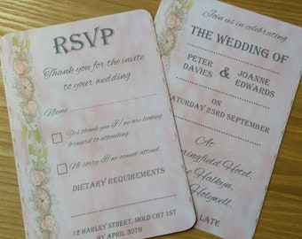 Vintage Style Wedding Invitations & RSVP Sets Packs of 10
