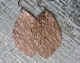 Crinkled Rose Gold Leather Earrings