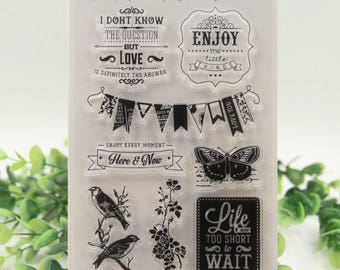 Enjoy Love Live Banner, birds, butterfly clear rubber stamp set for scrapbooking, card making, paper craft, collage.