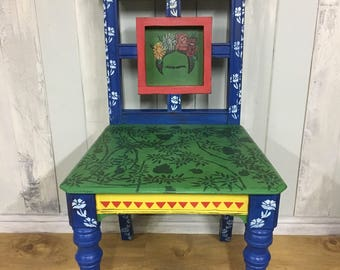 Hand-painted Frida Kahlo-inspired chair - green, blue, yellow, red