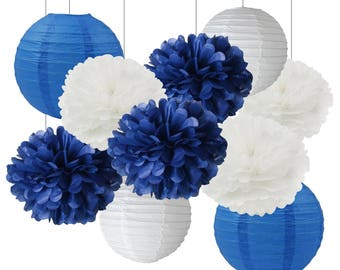 10pcs Mixed Navy Blue White Tissue Pom Poms Pompoms Flower Ball Baby Shower Wedding Birthday Party Hanging Decoration