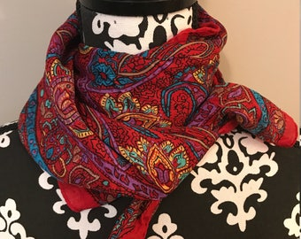 Vibrant Vintage Red Paisley Scarf - Silk - Polyester - Large