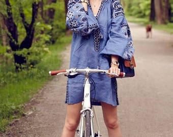 FREE shipping!! Bohemian Linen Vyshyvanka Dress With Pockets - Ukraine Dress Tunic. Ethnic Embroidery. Mexican Dress.