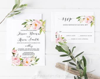 Wedding invitation suite rustic wedding invitation template wedding invitation template rustic wedding invitation template  ASPM003