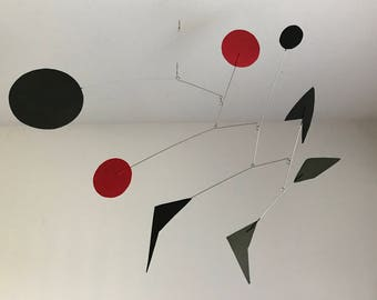 Hand-Painted Alexander Calder Inspired Mid-Century Modern Abstract Kinetic Mobile Sculpture #18