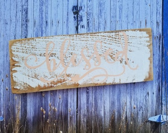 Blessed, Rustic, Distressed, Wood Sign, Home Decor, Reclaimed Wood, Brown, White
