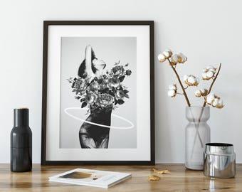 Black and White Art Print, Black and White, Home Decor, Modern Art, Erotic Art, Wall Art, Wall Decor, Botanical Art, Botanical Print