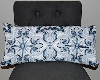 Black Compass Lumbar Pillow