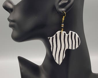 Zebra Striped Wooden Africa Earrings