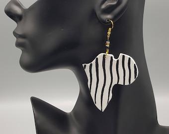 Zebra Striped Wooden Africa Earrings
