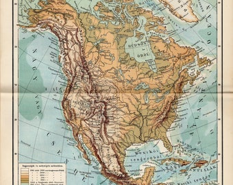 Antique relief map of North America from 1893