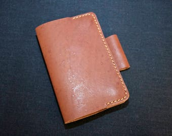Leather journal cover field notes moleskine travel notebook magnetic closure pen slot