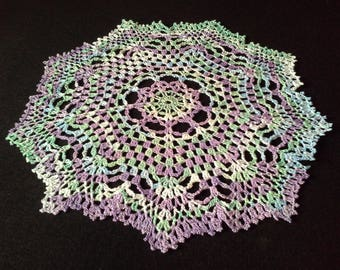 Crochet doily - Round doilies - Medium doily - Rainbow doily - Home decor - Crochet doilies