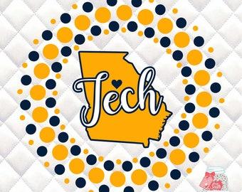 Georgia Tech Circle SVG, Silhouette studio bundle - design download