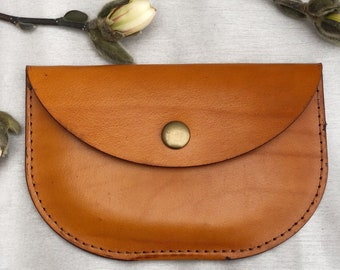 MEDIUM - Genuine Leather Coin Purse  - Minimalist Leather Coin Purse  - Handmade Leather Clutch - Leather Clutch Purse