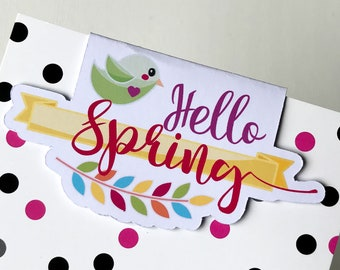 Magnetic Bookmark. Hello Spring shaped Magnetic Bookmark. For books, planners and notebooks.