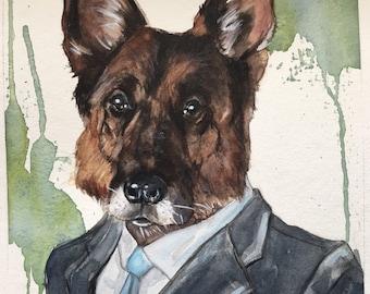 Custom Dog Character Painting-Dog Portraits-Custom Watercolor Pet Portrait-Christmas Gift-Pet Portrait-German Shepherd