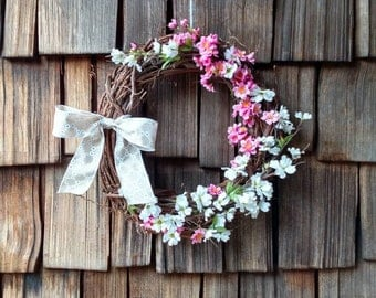 Spring grapevine wreath, pink and white flower wreath, Easter wreath