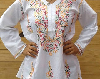 Mexican Embroidered Long sleeve blouse/Mexican Tunic size Medium