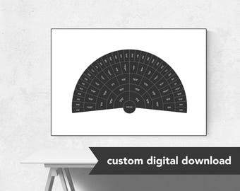 Custom Genealogy Family Tree Chart - Clean Blackboard Fan (Black & White)