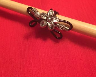 Silver and Black flower loc Jewely Hair Accessory