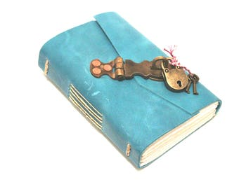 The Blue Journal - Handmade leather journal with metal hasp and padlock