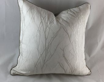 Ivory linen cushion with tree branches embroidery, Saten back