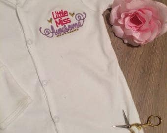 Little miss awesome, baby girls onesie, baby girl gift, embroidered babygrow, baby shower, new baby girl outfit, new baby girl onesie, bows