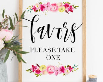 Printable. Favors please take one, favors sign, floral favors sign, wedding floral print, bridal shower favor sign, reception favor ,00L2