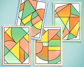 Geometric greeting cards 4 pack - scandi design cards - colourful birthday cards - modern greeting cards - free uk shipping