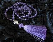 Amethyst Mala Necklace- 108 Mala- Mala Beads-Hand Knotted-Tasseled Mala-Meditation Beads-Yoga Meditation-Healing Crystals-Mantra beads-Gift
