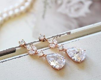 Rose Gold Art Deco Earrings , Vintage Style Crystal Earrings, Bridal Earrings, Crystal  Drop  Wedding Earrings, Wedding Jewellery,  UK