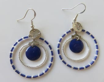 """Chryseis"", hoop decorated with cobalt blue Miuyki beads and Silver earrings"